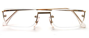 Rimless 4-hole drill goggles in gold with reading glasses in different strengths