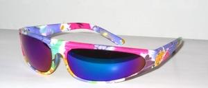 Bunte, hübsche Kinder Panorama Sonnenbrille mit grauen- blau verspiegelten Scheiben und 100 % UV - Schutz nach CE Norm