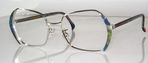 Very nice metal frame of the 70s in rhodium-plated metal with blue-green acetate side panels