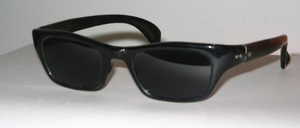 Smaller black acetate child or youth sunglasses from France, 60s