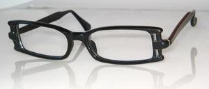 Flache 70er Jahre Azetat Brillenfassung mit seitlichen Schlitzen zum Einziehen von Zierbändern oder Schmuckteilen