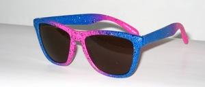 Federleichte matt rosa-blau getönte Kinder - Jugend Sonnenbrille mit braunen Scheiben nach CE -Norm, 100 % UV- Schutz