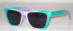 Federleichte matt rosa-grün getönte Kinder - Jugend Sonnenbrille mit braunen Scheiben nach CE -Norm, 100 % UV- Schutz