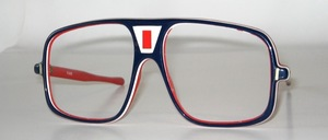Slightly larger sports frame in French Tricolore acetate blue-white-red