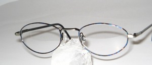 Classic, oval stainless steel spectacle frame with flexible hinges