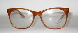 Gut gestylte Brillenfassung in Kristall mit brauner Azetat - Beschichtung