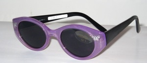 Preppy children's sunglasses in transparent purple and black temples, with butterflies on the sides