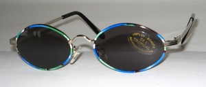 Oval metal sunglasses in children size, with locking blocks