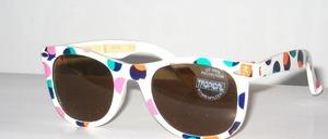Kinder Sonnenbrille im WF Stil in weiß mit aufgemalten Konfettis