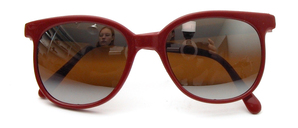 Dark red Pantoform sunglasses with brown flash silver mirrored all-weather lenses with 100% UV protection