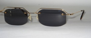 Leichte, randlose 4 - Loch Edelstahl Bohrbrille mit goldenem Oberrand
