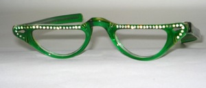 From the 60s: Beautiful strappy acetate half-moon look with straight straps, Made in France for SELECTA USA
