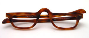 From the 80s: Beautiful men's acetate half-frame in manager look with straight straps, made in France for SELECTA USA