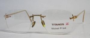 Eine ganz hochwertige, randlose, 100 % Titan- Brillenfassung in edlem, zeitlosem Design und goldfarbnen<br /> Metall Nasenstegen