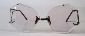 A great, rimless, real 80s facet sunglasses, with extremely stylish bottom hooks