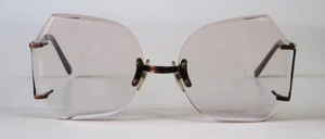 A great, rimless, real 80s facet sunglasses, with top hangers