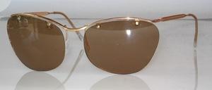 Randlose Sonnenbrille mit goldenem Oberbalken, original 50er Jahre