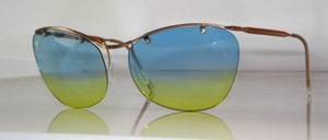 Echte 50er Jahre Sonnenbrille, randlos mit goldenem Oberbalken