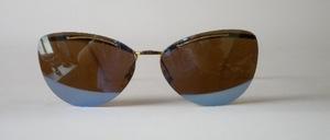 Echt alte goldfarbene, randlose Sonnenbrille aus den echten 50er Jahren, Made in Germany