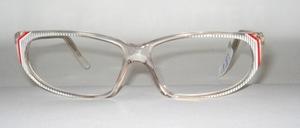 Gefällige, elegante Damen Azetat Brillenfassung, Made in Germany für K+B<br /> Farbe: Kristall mit Silberstreifen und rot-weißen Seiten