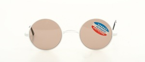 Classic round metal sunglasses with W-bridge in white paint