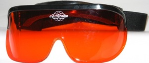 Large fold-up wind and UV protection goggles with band and orange, contour-enhancing anti-fog lens