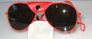 Smaller Pilot glacier glasses with red nose and side leather and nose pads and dark brown lenses