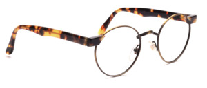 Metal frame in antique gold in pantoform with acetate cheeks and temples in tortoiseshell