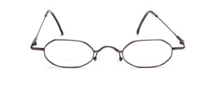 Flat 8-cornered dark gray metal glasses with flared jaws from Allure