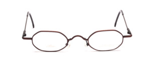 Flat 8-cornered metal dark brown glasses with flared jaws from Allure