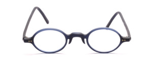 Oval acetate frame in matt dark blue with decorative rivets on the front of the middle section