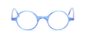 Classic round acetate frame in friendly light blue transparent