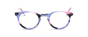 Hübsche kleine Pantofassung mit Schlüssellochsteg in Transparent Blau mit Pink, Weiß und Schwarz
