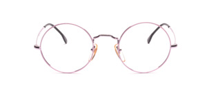 Timeless round frame in delicate pink metallic with colored glass rim in pink