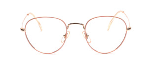 Timeless classic panto frame in gold with pink glass rim