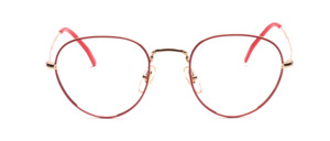 Timeless panto frame in gold with red glass rim