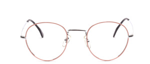 A timeless classic panto frame in silver with pink glass rim