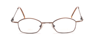 Small metal frame in matt light brown with flared jaws