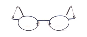 Modern oval metal frame in dark blue with wide flared jaws