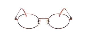 Classic, oval metal frame Brown with brown patterned glass rim