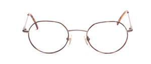 Lightweight metal frame in silver gray with brown patterned glass rim and with flexible hinge