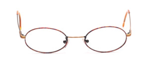 Oval stainless steel frame in antique gold with brown patterned glass rim