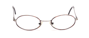 Oval stainless steel frame in antique silver with brown patterned glass rim