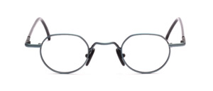 Panto-shaped metal frame in metallic blue with black-plated temples