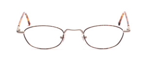 Metal frame with flex hinge in matt silver with brown patterned glass rim and temples cover