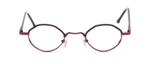Metal frame in pantoform in matt red black glass rim on top