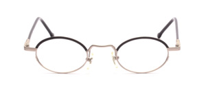 Matt silver frame with black glass rim above