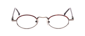Antique silver frame with reddish brown glass rim above