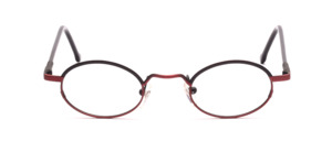 Metallic red frame with black glass rim above