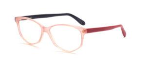 Damenbrille in Schmetterlingsform aus den 1990er Jahren aus Acetat in rosa meliert mit jeweils einem roten und einem schwarzen Bügel